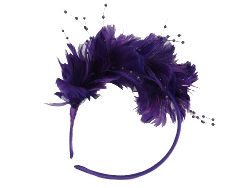 Precious Purple Feather Head Band / Red Hat Ladies Society (Clothing Society Hat Red)