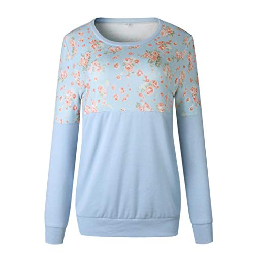 iTLOTL Fashion Women O-Neck Long Sleeve Floral Print Patchwork T-Shirt Tops Sweatshirt(Blue,US-14/CN-XL)
