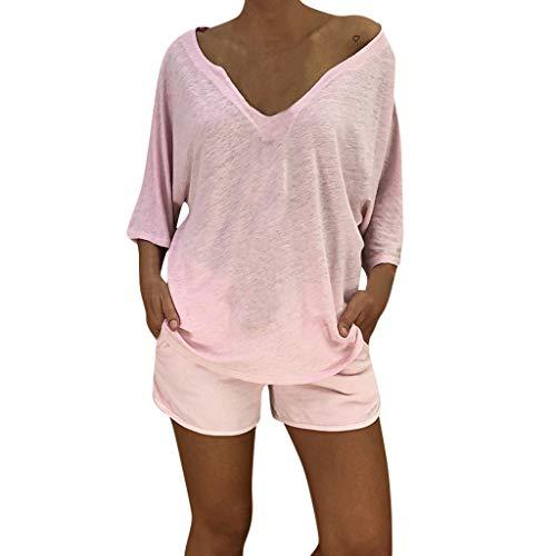 Plus Size Tops Women V Neck Boho Beach Cover Hippie Baggy Blouse Dress ()