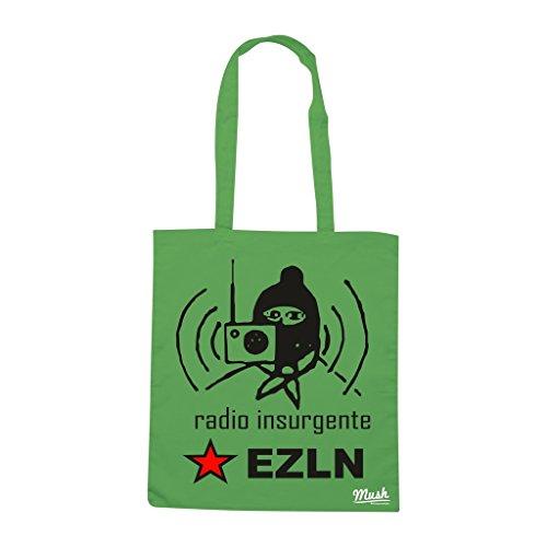Borsa Ezln Radio Insurgente - Verde prato - Politic by Mush Dress Your Style