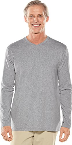 Coolibar UPF 50+ Men's Long Sleeve Everyday V-Neck T-Shirt - Sun Protective (XX-Large- Grey Heather) ()