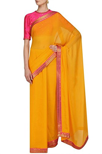 cb21e18d35f831 Jaipuri Fashion Mango Yellow Saree and Hot Pink Embroidered Blouse Set.:  Amazon.in: Clothing & Accessories