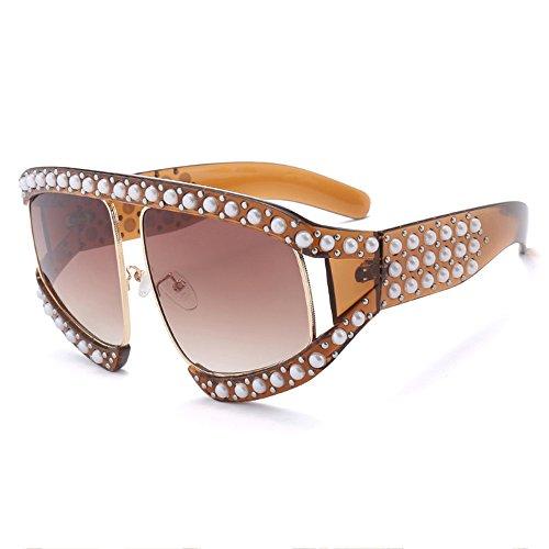 Red UV Gafas De Grandes De De Pearl Sol Moda Gafas De Sol Brass Sol Anti aYqO8gR