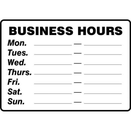 "Accuform MADM562XP, 14"" x 20"" Safety Sign""Business Hours ."" Accu-Shield, Pack of 3 pcs from Accuform"