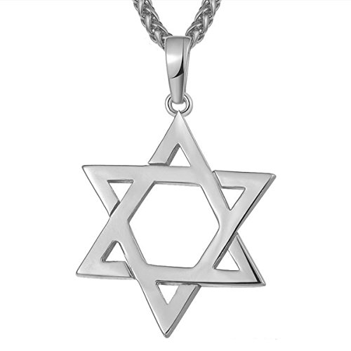 18k Star Necklace (Star of David Pendant Necklace Plated 18K Gold/Plated Silver Hexagram Jewelry Unisex (Silver))