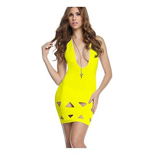 Lovinus Women's Sexy Yellow Deep V Neck One-Piece Dress Club Bar Mini ()