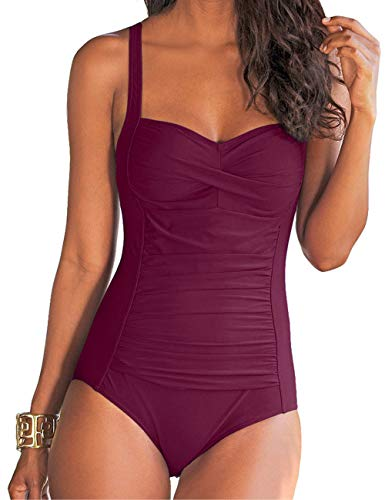 Hilor Women's One Piece Swimsuits Front Twist Bathing Suits Tummy Control Swimwear Retro Inspired Monokini Burgundy -