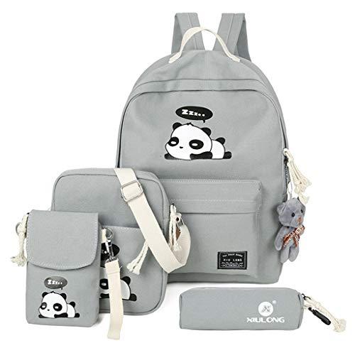 Panda Dos pour pcs Sac 4 bandoulière Femmes Xuniu Impression Gray Voyage Dos Les à Sac à cartables Blue Sac à Mignon xqaIYw5w