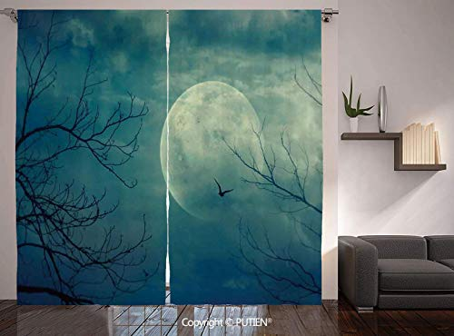 Thermal Insulated Blackout Window Curtain [ Horror House Decor,Halloween with Full Moon in Sky and Dead Tree Branches Evil Haunted Forest,Blue ] for Living Room Bedroom Dorm Room Classroom Kitchen -
