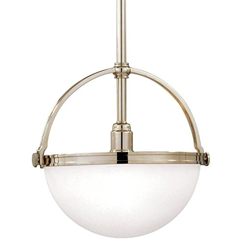 - Stratford 1-Light Pendant - Polished Nickel Finish with Opal Matte Glass Shade
