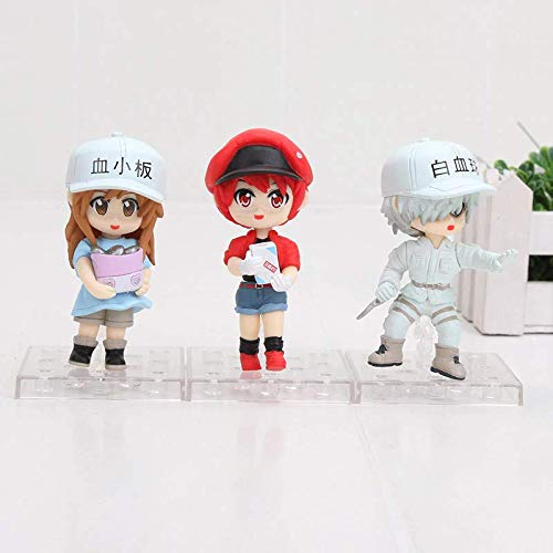 9cm (3.5 inch) - 3pcs/Set - Hataraku Saibou 3pcs/Set Action Figures 1/10 Scale Painted Figure Red Blood Cell White Blood Cell PVC Figure Toys -