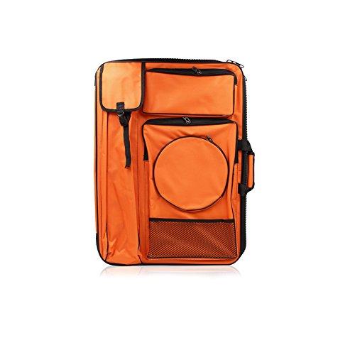 Fitlyiee Waterproof Art Portfolio Carry Case Backpack Bag for Drawing Sketching Painting Drawboard Bags (Orange)