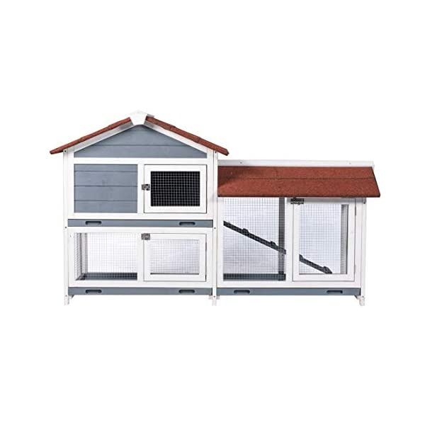 "Good Life Two Floors 62"" Wooden Outdoor Indoor Roof Waterproof Bunny Hutch Rabbit Cage Guinea Pig Coop PET House for Small to Medium Animals with Stairs and Cleaning Tray PET537 2"