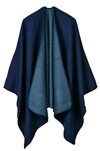 VamJump Women Solid Warm Oversized Blanket Poncho Cape Shawl Wrap Navy-728