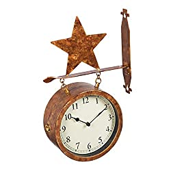 Cape Craftsmen 2-Sided Outdoor Wall Clock and Thermometer with Star Icon
