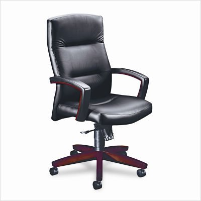 HON 5001NEE11 5000 Series Executive High-Back Swivel and Tilt Chair, Black Vinyl/Mahogany