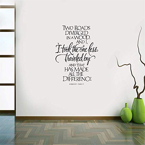 (unanau Wall Decal Sticker Art Mural Home Decor Two Roads Diverged in A Wood and I,I Took The One Less Traveled by,and That Has Made All The Differentce for Bedroom Living Room)