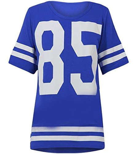 Womens Oversize 85 Football Style Jersey T-shirt (Sty) (4/6 (uk 8/10), Royal blue) Football Oversized T-shirt