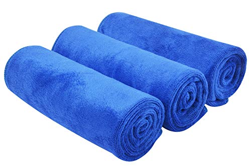 KinHwa Ultra Soft Microfiber Cleaning Car Drying Towel Large Absorbent Car Wash Towel Scratch Free Auto Detailing Towels 3 Pack (16Inchx24Inch, Blue)