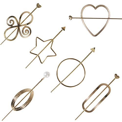 6 Pack Vintage Minimalist Decorative Metal Gold Hair Sticks Hairpins Shawl Pins Long Forks Chopsticks Clips Barrettes Buns Holder Hair Styles Circle Star Hollow Accessories