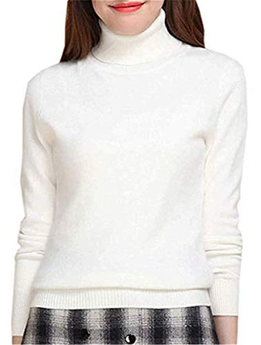 SANGTREE Women's Cashmere Turtleneck Long Sleeves Lightweight Pullover Sweater, White, US L(12-14)