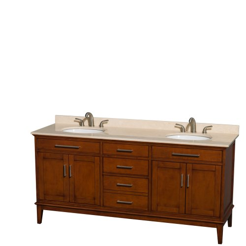 Wyndham Collection Hatton 72 inch Double Bathroom Vanity in Light Chestnut, Ivory Marble Countertop, Undermount Oval Sinks, and No Mirror