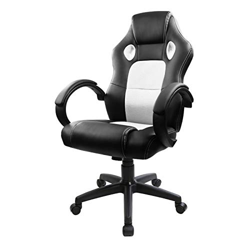 Racing Style Leather Gaming Chair Ergonomic Swivel Computer Office White Flex HQ