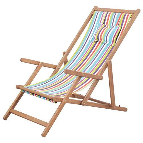🥇 vidaXL Silla Playa Plegable Tela Multicolor Asiento Piscina Terraza Exterior