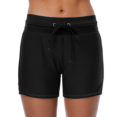 ALove Womens Stretch Boardshorts Board Swim Shorts Tankini Shorts Black Large