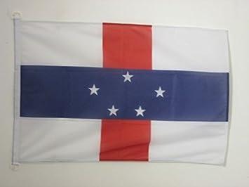 AZ FLAG Bandera Nautica de ANTILLAS NEERLANDESAS 45x30cm - Pabellón de conveniencia Holandesa 30 x 45 cm Anillos: Amazon.es: Jardín