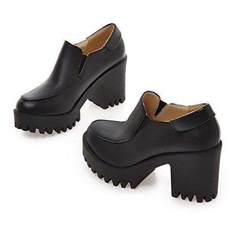 Talon À Chaussures Matière Couleur Femme Souple Agoolar Légeres Haut Rond Unie Noir Tire wgCREqSU