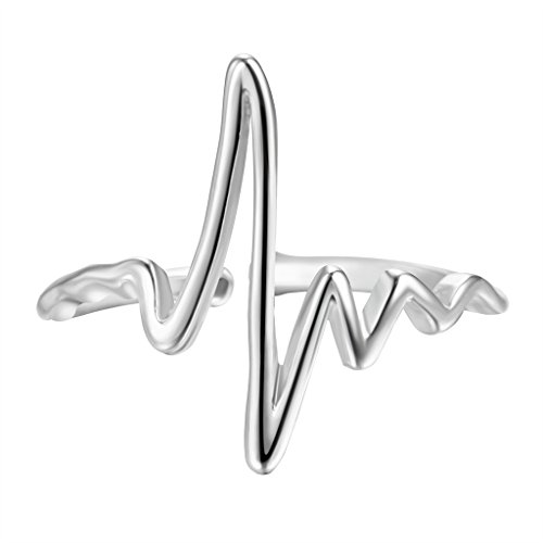 Sterling Silver Class Ring - QIAMNI 925 Sterling Silver Heart Beat Electrocardiogram Wave Ring Christmas Women Girls Birthday Gift