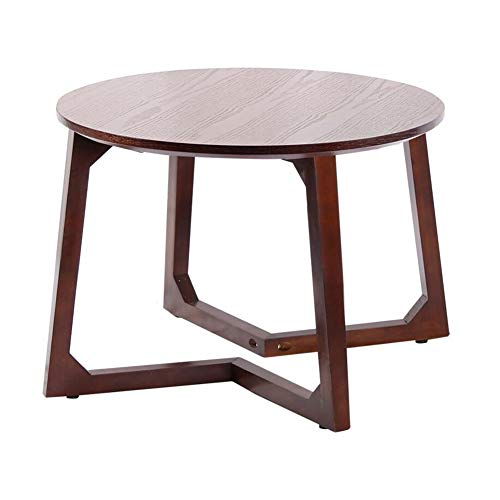 - Table Mid-Century Modern End Table Bedside Nightstand Living Room Side/Accent Tables Round Tabletop Rubber Wood Legs CJC (Color : Black Walnut, Size : 60x60x45cm)