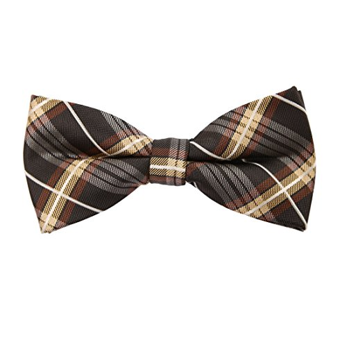- Epoint EBDC0061 Khaki Brown Checkered Bow Ties Microfiber Fitness For Marriage Pre-tied Bow Tie
