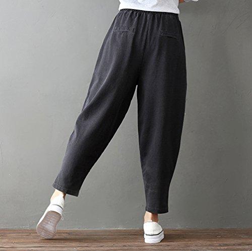Cintura Retro Ajustable negro Comodos WanYang Suelto Y Elástica Mujeres Pantalones Mujer Jeans Negro Vaqueros Casual paxAS0q