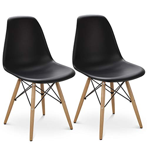 Giantex Set of 2 Dining Chair Armless Mid Century Modern Style Plastic Seat Wood Dowel Legs for Bedroom Accent Living Room DSW Chair (Black) For Sale