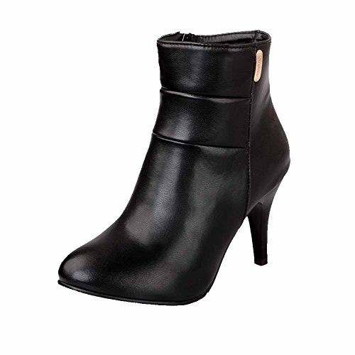 Zipper Solid Allhqfashion Black Spikes Boots Round Toe Material Stilettos Women's Soft Closed f8qxpwHfz
