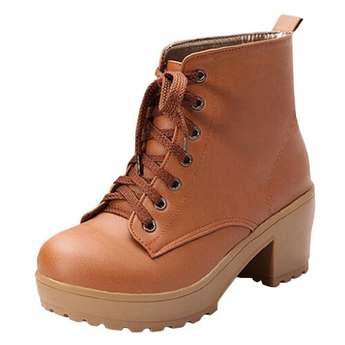 Hee Grand Women PU Leather Chunky Heel Lace up Bootie Boots Brown B6TNExX