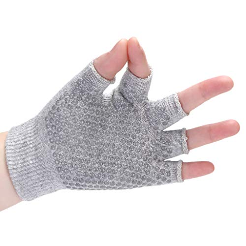 Sinwo Womens Gym Body Building Training Sports No-Slip Yoga Pilates Workout Gloves (Gray)