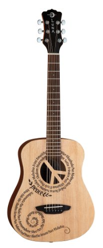 Luna Safari Series Peace Travel-Size Dreadnought Acoustic Gu
