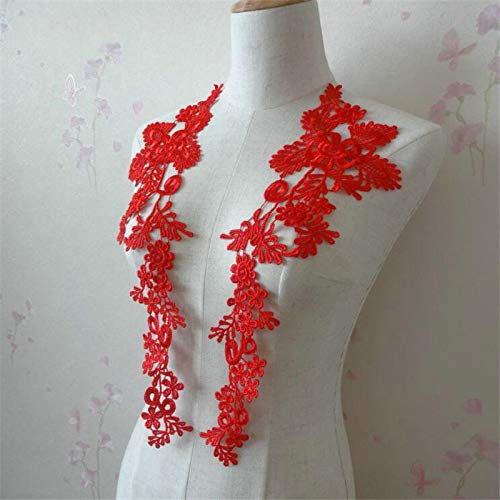 (1 Pair Embroidery Applique Wedding Lace Floral Motif Sewing Trims Decoration (Red))