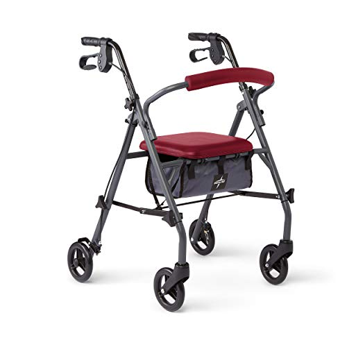 Medline Rollator Walker with Seat and Wheels, Folding Walker for Seniors with Microban Antimicrobial Protection, Durable Steel Frame Supports up to 300 lbs, 6 inch Wheels, Red by Medline