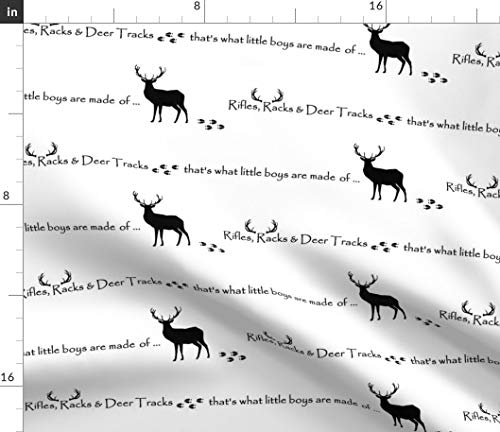 Spoonflower Deer Fabric - Deer Black White Deer Deer Antlers Hunting Buck Stag Deer Tracks Woodland by Buckwoodsdesignco Printed on Kona Cotton Ultra Fabric by The Yard