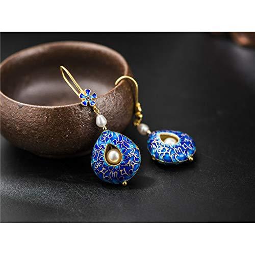 HUANHUAN Earrings S925 Sterling Silver Freshwater Pearl Earringsmantra Cloisonne Drop Earring Handmade Jewelry