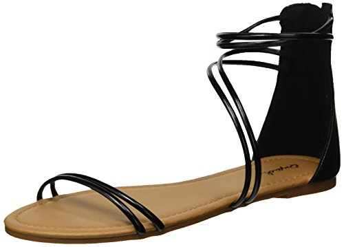 Black Caged Women's Flat Qupid Sandal 04w10Cq