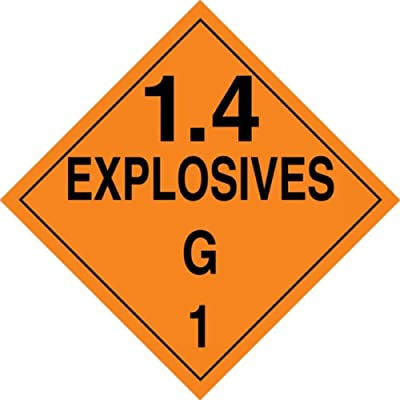 Black on Orange Legend1.4 EXPLOSIVES G 1 10-3//4 Width x 10-3//4 Length Legend1.4 EXPLOSIVES G 1 10-3//4 Width x 10-3//4 Length Accuform Signs Pack of 25 Accuform MPL132CT25 PF-Cardstock Hazard Class 1//Division 4G DOT Placard