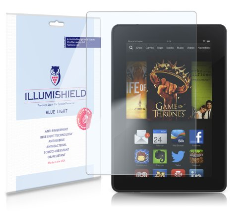 Photo - iLLumiShield - Amazon Kindle Fire HD 7 (2013) (HD) Blue Light UV Filter Screen Protector Premium High Definition Clear Film / Reduces Eye Fatigue and Eye Strain - Anti- Fingerprint / Anti-Bubble / Anti-Bacterial Shield - Comes With Free LifeTime Replacement Warranty - [2-Pack] Retail Packaging