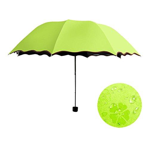 Autumn Water Simple Women Umbrella Windproof Sunscreen Magic Flower Dome Ultraviolet-Proof Parasol Sun Rain Folding Umbrellas ()