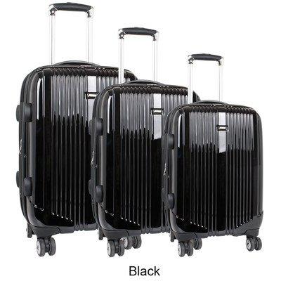 J World New York Concord Hardside 3 Piece Spinner Luggage Set, Black, One Size -