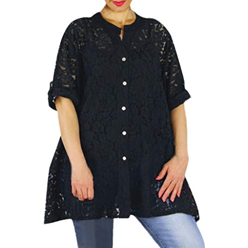 Women's V-Neck Half Sleeve Buttoned Lace Hollow Out Loose Suncreen Cardigan Shirt Black